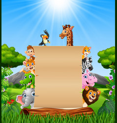 animals with paper blank sign at forest vector image