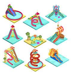 Aqua park water slides isometric 3d elements vector