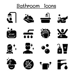 bathroom icon set graphic design vector image
