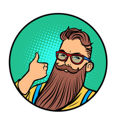 bearded hipster thumb up gesture vector image