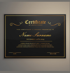 black and golden certificate of appriciation vector image