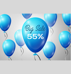 blue balloons with an inscription big sale fifty vector image