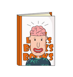 book with cartoon face man with brain vector image