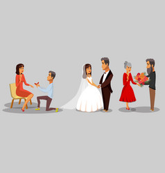 Bride and groom wife and husband cliparts set vector