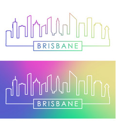 brisbane skyline colorful linear style editable vector image