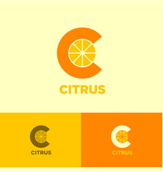 C monogram logo citrus slices citrus vector