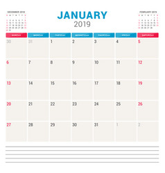 Calendar planner for january 2019 week starts on vector