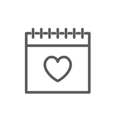 calendar valentines day line icon vector image