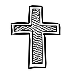 cartoon image of religion cross icon in flat style vector image