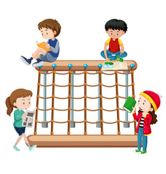 children reading a playground vector image