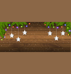 christmas wooden background with branches vector image
