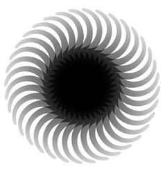 Circular abstract rotating shape motif monochrome vector