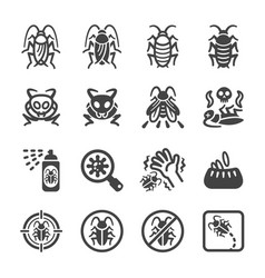Cockroach icon set vector