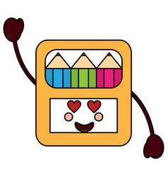 Colored pencils box heart eyes school supplie vector