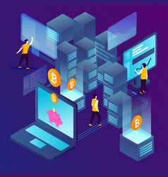 concept cryptocurrency mining vector image