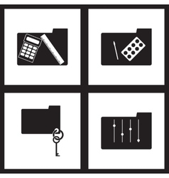 Concept flat icons in black and white folders vector image