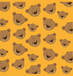 cute bear teddy heads pattern vector image