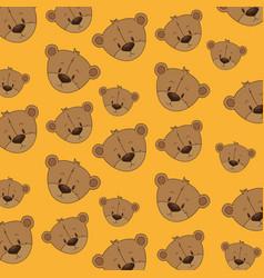 cute bear teddy heads pattern vector image