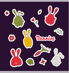 cute cartoon rabbits set simple hand drawn vector image