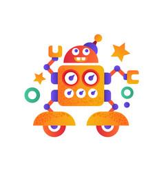 cute funny robot character artificial robotics vector image