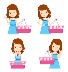 Cute girl and empty shopping baskets vector image
