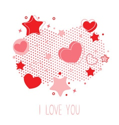 Cute Valentine card with hearts stars and halftone vector image