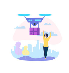 drone mail service woman waiting for parcel vector image