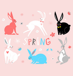 eastern bunny rabbits in vector image