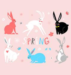 eastern bunny rabbits vector image