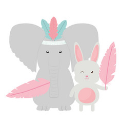elephant and rabbit with feathers hat bohemian vector image