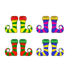 elf shoes pair stripes design isolated on white vector image
