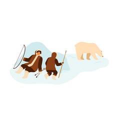 eskimo people hunting wild polar bear with lance vector image