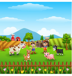 farm background on hill with the other animals vector image