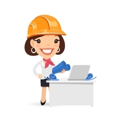 female architect with blueprints vector image