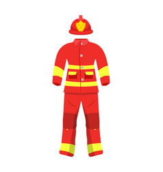 Fireman protective suit flat vector