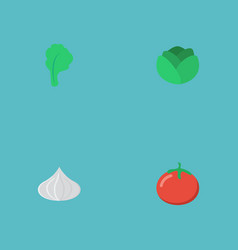 flat icons love apple lettuce onion and other vector image