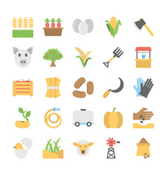 Flat icons of farming vector