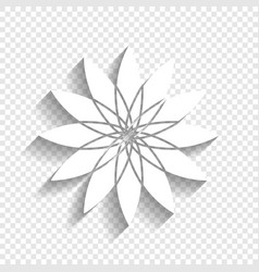 Flower sign white icon with soft shadow vector