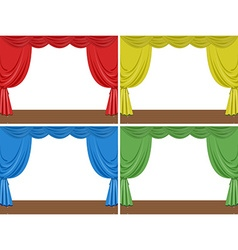 Four scenes of stage with different color curtains vector