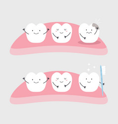 funny healthy and ill teeth vector image