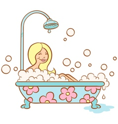 Girl bathroom vector