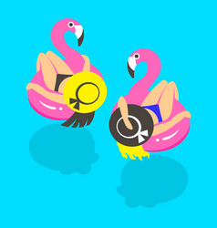 Girls on an inflatable pink flamingo in summer of vector