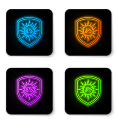 Glowing neon uv protection icon isolated on white vector