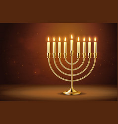 golden realistic menorah candlestick with burning vector image
