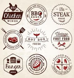 Grill Barbecue Burger Hot Dog Seafood Badges vector image vector image
