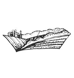 Hand drawn farmhouse and hills vector