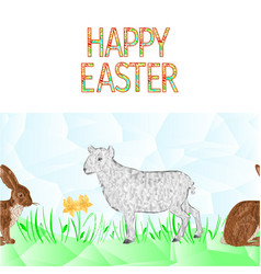 Happy easter border seamless background lamb vector