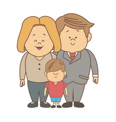 Happy family standing together smile father mother vector