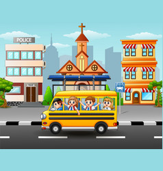 happy students riding school bus vector image