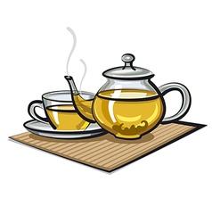 Hot green tea vector